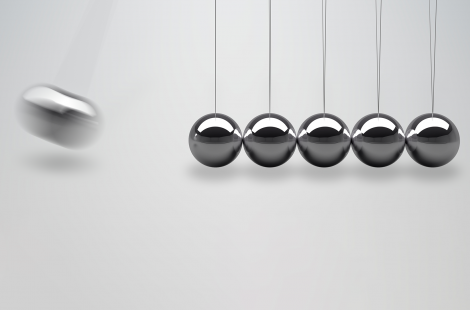 3D rendered illustration of Newtons cradle - balancing balls - Leading change initiatives